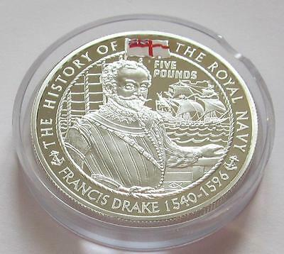 Royal Mint History of the Royal Navy Jersey silver proof £5 2003 - Francis Drake