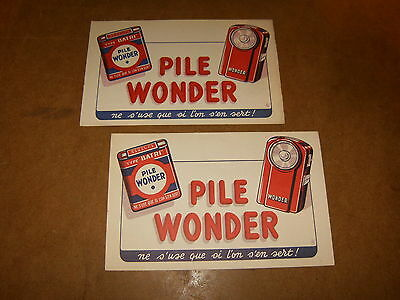 2 anciens buvards - PILE WONDER ( ne s'use que si l'on s'en sert ! ) - années 50
