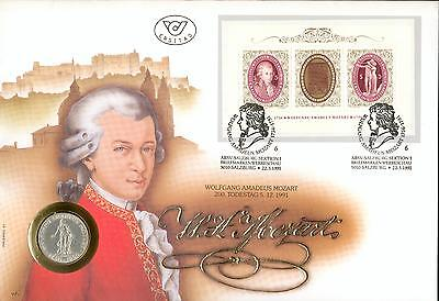 Austria Numisbrief FDC Mozart 1991 coin cover gh58-2