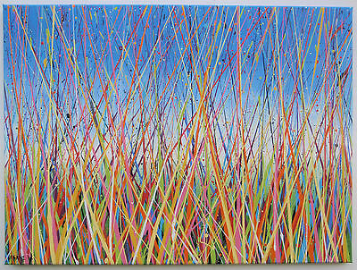 LARGE ABSTRACT LANDSCAPE PAINTING ON CANVAS Modern Art Grass Meadow & Blue Sky