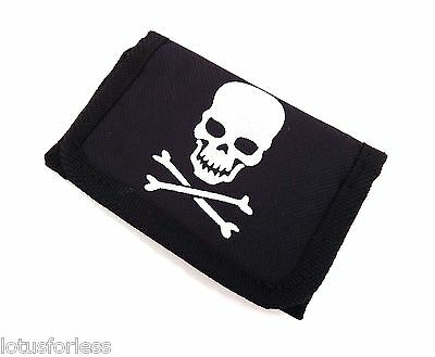 SMALL Black and White Skull Crossbones Wallet Boys Zip Coin Section Gift