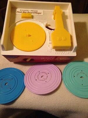 2010 Fisher Price Music Box Record Player W/ 3 Records Plays 2 Songs Each