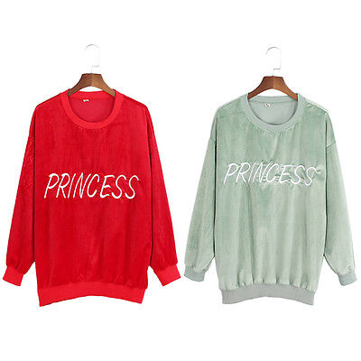 Princess Letters Embroidery Velvet Sweatshirt Pullover Crew Neck Warm Spring