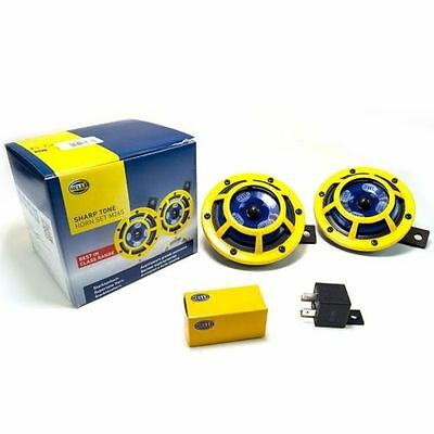 NEW HELLA Sharptone Panther Yellow Dual Horn Kit UNIVERSAL 118dB w Relay BMW WRX