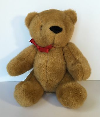 Vintage IKEA Sweden Brown Teddy Bear Red Ribbon Jointed Plush