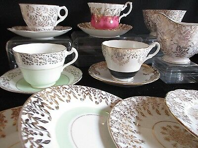 Vintage English china mismatched tea set  cups, saucers, plates 4 pretty gold