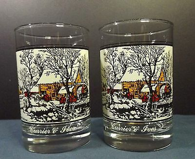 2 Currier & Ives Collector Glasses by Arby's 1981 5""