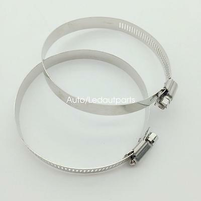 2x Adjustable 3.5 Inch Stainless Steel Drive Hose Clamp Fuel Line Worm Clips