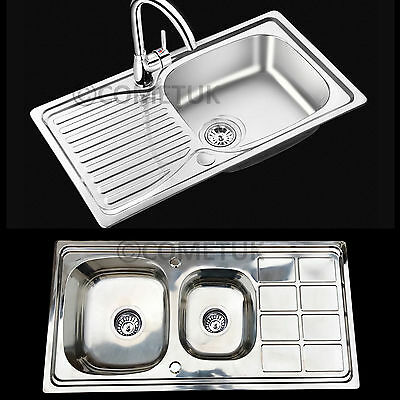 Single 1L & Double Bowl 1.5L Stainless Steel Kitchen Sink Drainer & Waste Kit UK