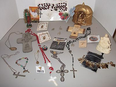 VINTAGE RELIGIOUS LOT Mixed Rosaries Medals Statues Jewelry