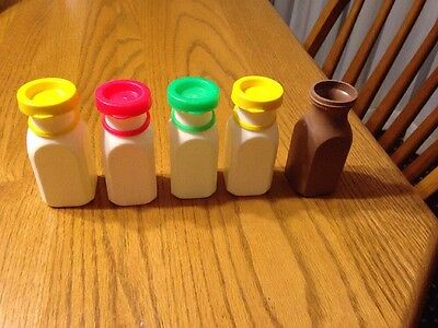 Vintage Fisher Price 5 Milk Bottles w/ Juice Milk & Chocolate Milk w/ Lids