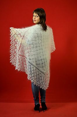 Shawl white lace Beautiful Handmade goat down Mohair Angora Size:104cm square