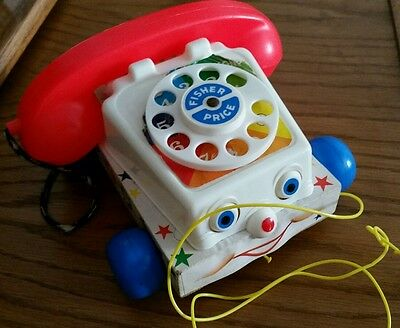 """Vintage 1961 Fisher Price """"Chatter"""" Pull Along Phone"""