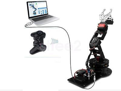 New Black 6 DOF Robot Arm Clamp Claw Kit Rotating Base Servo Controller Handle