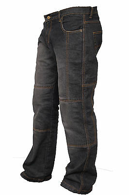 Mens Black Motorcycle Motorbike Jeans Trouser With Aramid Protective Lining