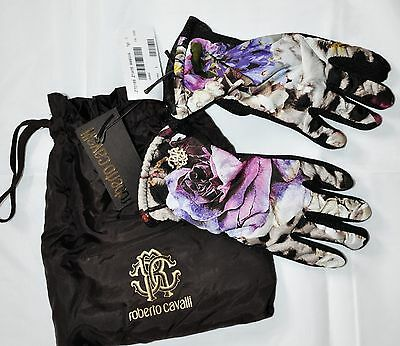 Nwt Roberto Cavalli Black & Floral Gloves For Girls 5-8 Italy $165