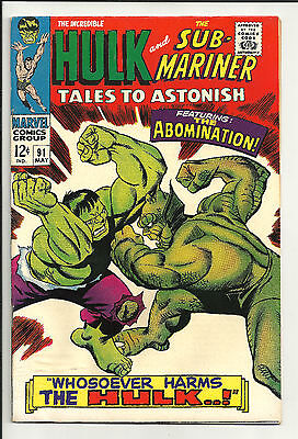 Tales to Astonish #91 VF- 7.5, Hulk,  2nd Abomination May 1967
