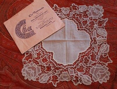 Brussels Exquisite Antique Lace Handkercheif Dainty Needle Lace Trim