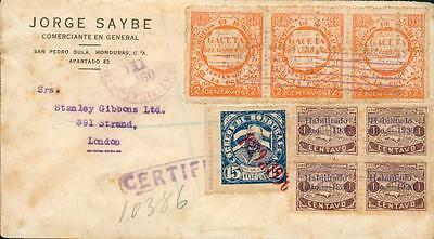 Honduras cover 1930 with rare perforation variety ee04