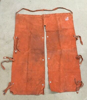 Vintage Leather Suede Red Ram Welding Chaps, Elliott Corp., Made In USA