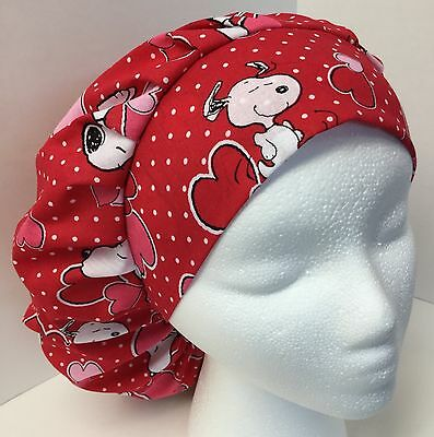 Valentines Day Snoopy Heart size Large Medical Bouffant OR Scrub Cap Surgery Hat