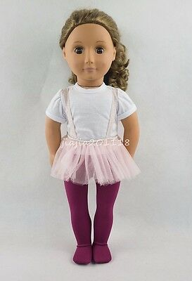 White T-shirt Pink Dress Pantyhose For 18''American Girl Doll Clothes Girl Gifts