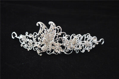 Wedding Glitter Butterfly Tiara Crown Headband Veil Headpiece Luxury Decor