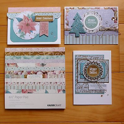 """KAISERCRAFT CHRISTMAS WISHES GOLD PINK BLUE PAPER PAD 6.5""""x6.5"""" 40 SHTS - NEW"""