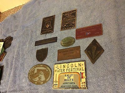 10 Old  Boat Rally Brass Plaques Enamel