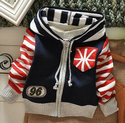 Spring Autumn Kids Baby Boys Girls Striped Cotton Hoodie Cardigan Jacket Outwear