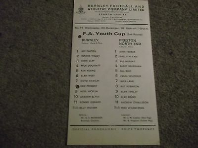 Rare Burnley V Preston North End  Fa Youth Cup 2Nd Round 4Th December 1968