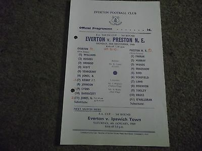 Rare Everton V Preston North End  Fa Youth Cup 3Rd Round 30Th December 1968