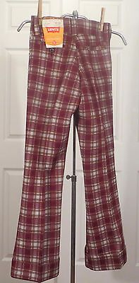 Vintage Kids Levi's Pants Slacks Trousers Dead Stock Plaid Bells Flares  sz 12