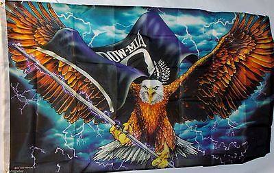 HOT LEATHERS 3x5 ft Flag - POW,MIA,Eagle Carrying Flag,Lightning