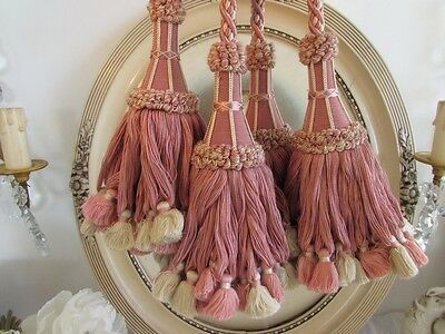 Vintage French pair of magnificent tassel chateau style curtain tie backs.