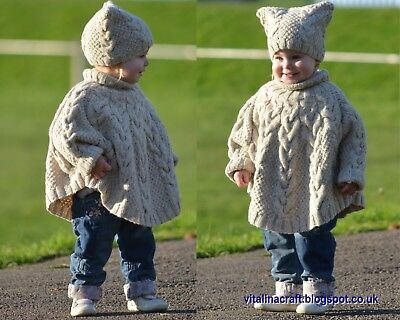 Knitting Pattern - Vanilla Cloud Poncho and Hat Set (Toddler and Child  sizes) 2bb99e56faf