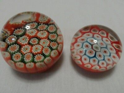 Vintage Pair of Millefiori Glass Paperweights!!  Multi Colored.