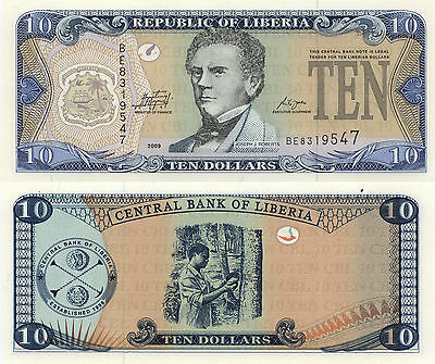 Liberia 10 Dollars (2009) - Man Tapping Rubber Tree/p27d UNC