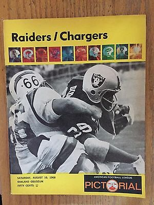 1968 Oakland Raiders vs San Diego Chargers August 10 Program AFL NFL Pictorial