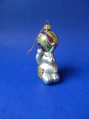Hand Blown Glass Christmas Ornament Elephant with Ball