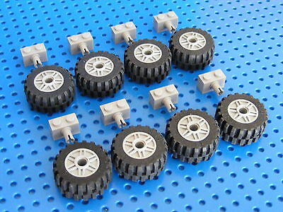 LEGO 8x Big Wheels And Tyres With Holders - Light Grey (55981)
