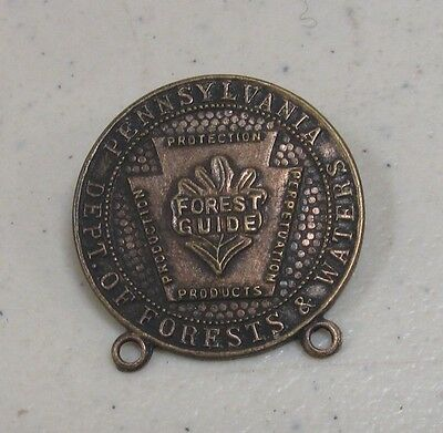 Vintage Pennsylvania Department of Forests and Waters Forest Guide Metal Pin