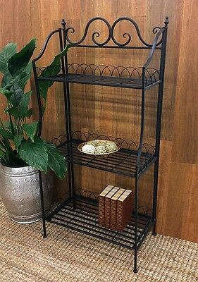 Cannes Bakers Stand 3 Tier Iron Metal Black Decorative NEW Living or Garden