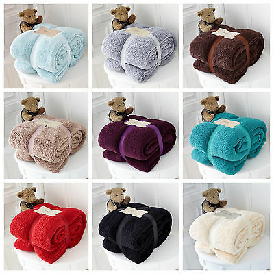 Luxury Thick Warm Large Soft Teddy Bear Fleece Blanket Sofa Bed Throw