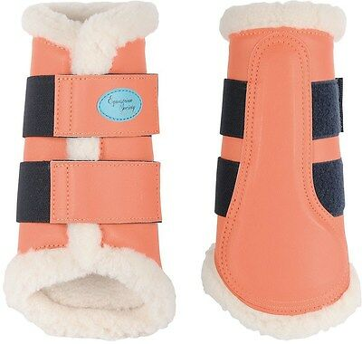 Flextrainer Horse Protection Boots with Fleece Lining. - Living Coral Large