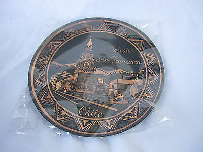 Souvenir Light Metal Black Copper Color Wall Plate Church San Francisco Chile