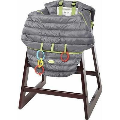 Nuby 2-in-1 Quilted Shopping Cart  & Highchair Cover Gray, Free Shipping
