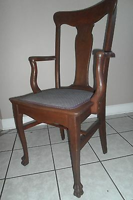 Antique Oak T Back Chair Dining Room with arm rests.