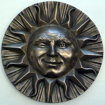 Winking Sun Face Wall Plaque Sculpture in Cold Cast Bronze