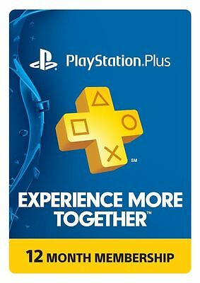1 Year 12 Month PSN PlayStation Plus Membership Subscription PS4 Card CODE FAST